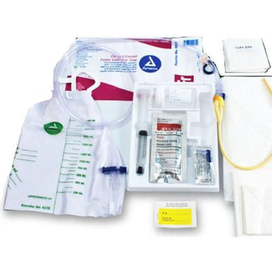 Closed Circuit Foley Catheter Tray w/ Catheter, Drainage Bag Attached Urine Bags Mountainside-Healthcare.com 14 French, 5005, Closed Circuit Tray, Drainage Bag, Dynarex, Foley Catheter, foley insertion tray, Pre-connected