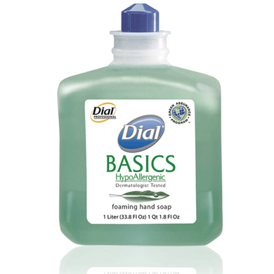 Dial Basics Hypoallergenic Foaming Lotion Soap, 1 Liter Refill Bottles, 6/Case Hand Soaps Mountainside-Healthcare.com