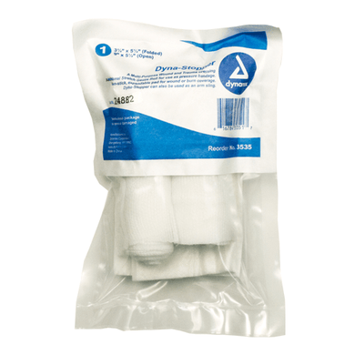 Trauma Wound Dressing Dyna-Stopper, Sterile Blood Stopper Wound Dressing Mountainside-Healthcare.com 3535, dyna stopper, dynarex, external bleeding, gauze, gauze roll, gauze sponge, stop bleeding, trauma, wound dressing, wound stopper