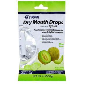 Hager Dry Mouth Drops Sweetened with All Natural Xylitol, Melon Flavor Dry Mouth Relief Lozenges Mountainside-Healthcare.com Dry Mouth Drops, Hager Pharma, Melon Flavor, Oral Care, Relieve Dry Mouth