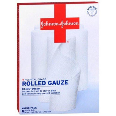 "Kling Gauze Rolled Bandages 4"" x 2 Yards, 5/Box Gauze Pads Mountainside-Healthcare.com Absorbent, Bandage, Conformaing gauze, Gauze, Gauze wrap, Hospital grade, Johnson & Johnson, Kling bandage, Rolled gauze"