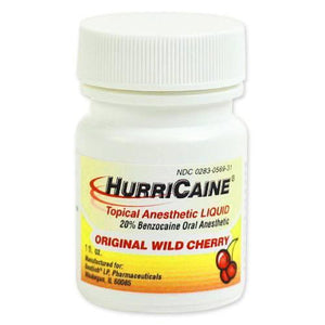 Hurricaine Oral Pain Liquid, Wild Cherry Dentists Mountainside-Healthcare.com anesthetic, cold sores, dental pain, hurricaine, oral pain, sore throat, sores, wild cherry