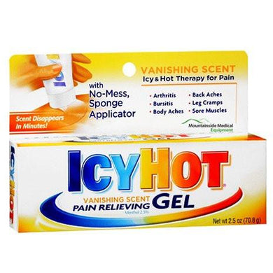 Icy Hot Vanishing Scent Pain Relieving Gel with No-Mess Applicator, 2.5 oz Pain Relieveing Gel Mountainside-Healthcare.com icy hot, no mess, pain gel, pain relief, Pain Relieveing Gel, Pain Theray Gel, sponge applicator, vanishing scent