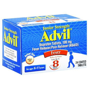 Junior Strength Advil Ibuprofen Tablets, 24 Coated Cold and Flu Mountainside-Healthcare.com