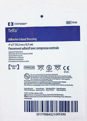 Telfa Adhesive Island Dressing 4 x 5, Sterile 25/Box Wound Care Mountainside-Healthcare.com 7540, adhesive pads, cover wounds, covidien, iv site, kendall, pressure ulcers, telfa pads