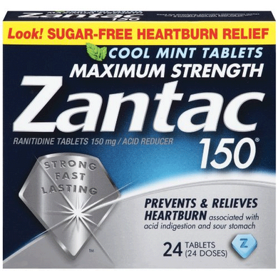 Zantac 150 Maximum Strength Acid Reducer with Cool Mint Flavor 24/Box Heartburn Relief Medicine Mountainside-Healthcare.com acid reflux, Cool mint, Heartburn Relief, Heartburn Relief Medicine, maximum strength, Suger free, Zantac 150
