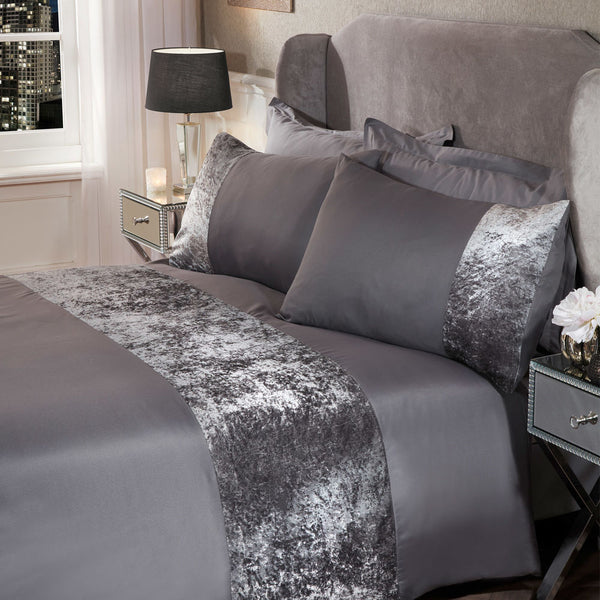 Crushed Velvet Band Duvet Set - Silver Grey