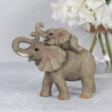 Mother and Baby Elephant Adventure Ornament