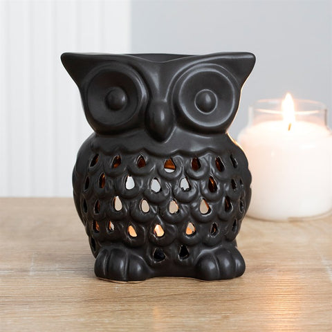 Ceramic Owl Shaped Owl Burner - Black