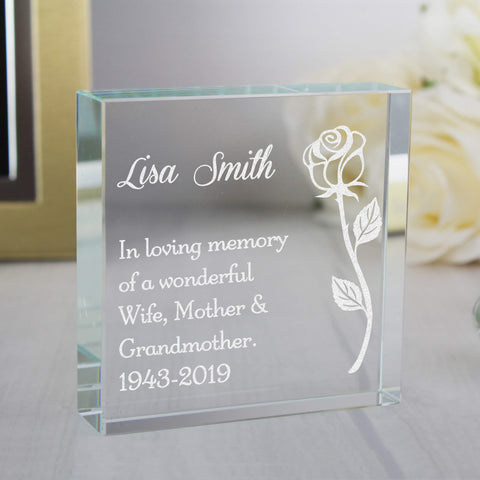 Personalised Rose Large Crystal Token