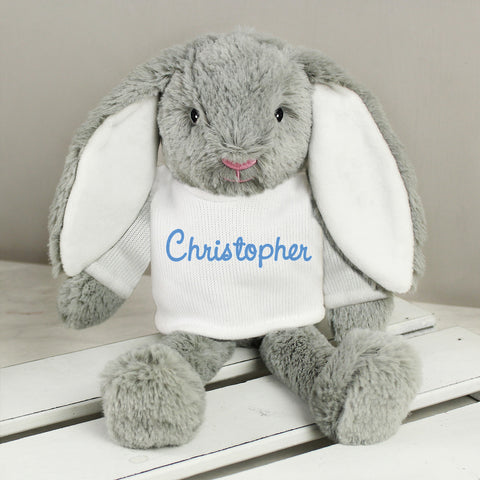 Personalised Name Only Bunny - Blue Embroidery