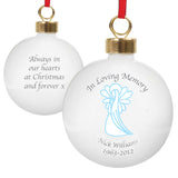 Personalised In Loving Memory Blue Angel Bauble