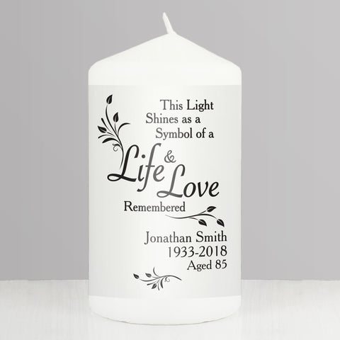 Personalised Life & Love Candle