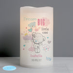 Personalised Tiny Tatty Teddy Dream Big Pink Nightlight LED Candle