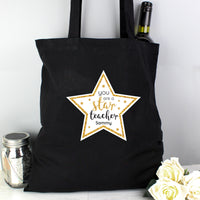 Personalised Star Teacher Black Cotton Bag