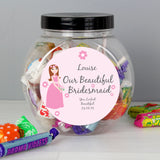 Personalised Beautiful Bridesmaid Sweet Jar