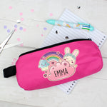Personalised Cute Bunny Pink Pencil Case
