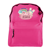 Personalised Cute Bunny Pink Backpack
