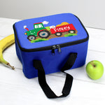 Personalised Tractor Blue Lunch Bag