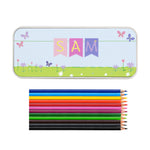 Personalised Garden Bunting Pencil Tin with Pencil Crayons