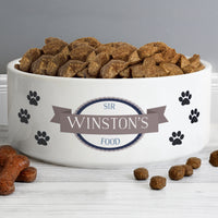 Personalised Blue Paws 14cm Medium White Pet Bowl