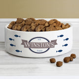 Personalised Blue Fish 14cm Medium White Pet Bowl