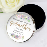 Personalised Godmother 'Floral Watercolour' Round Trinket Box
