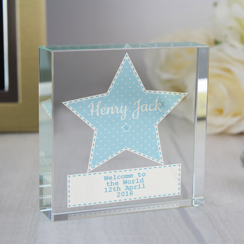 Personalised Stitch & Dot Baby Boy Large Crystal Token