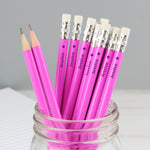 Personalised Star Motif Pink Pencils