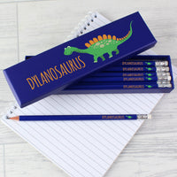 Personalised Dinosaur Box of 12 Blue HB Pencils