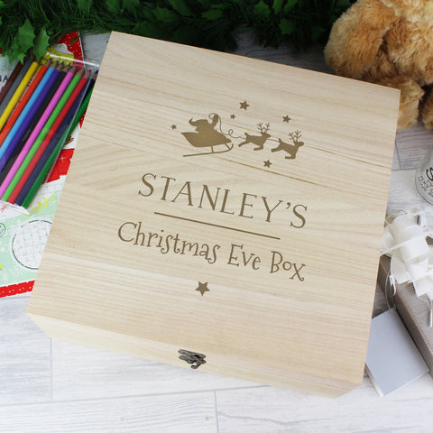 Personalised Large Wooden Christmas Eve Box