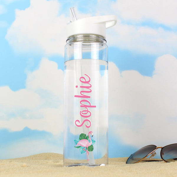 Personalised Flamingo Island Water Bottle