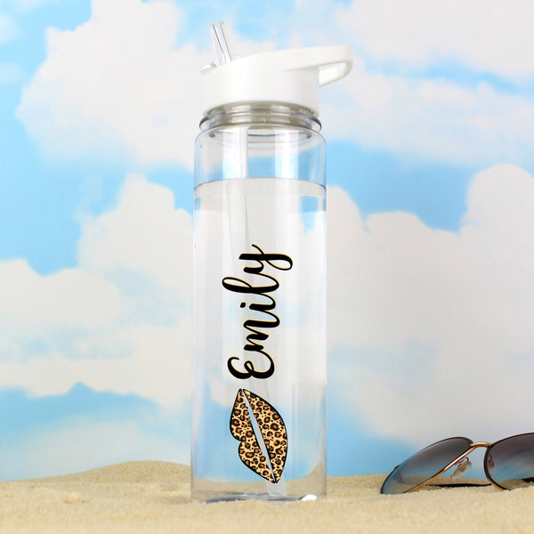 Personalised Leopard Lips Island Water Bottle