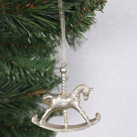 Gold Rocking Horse Christmas Ornament - Cassolli