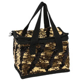 Black and Gold Reversible Sequin Lunch Bag - Cassolli