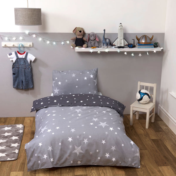 Starry Cot/Junior Duvet Set - Grey