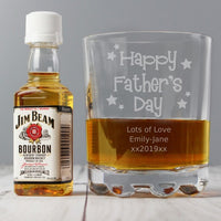 Personalised Happy Father's Day Glass & Bourbon Whiskey Miniature Set