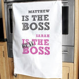 Personalised The Real Boss White Tea Towel