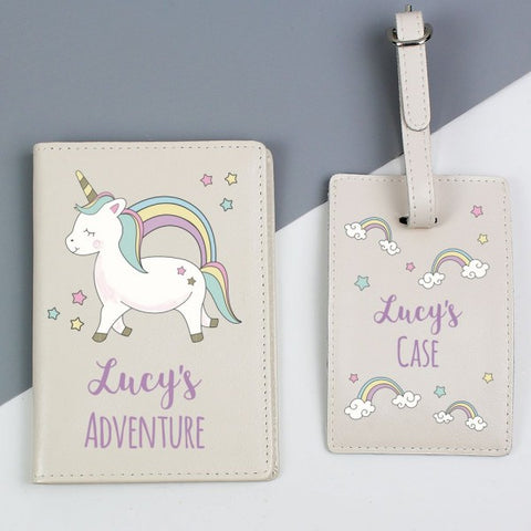 Personalised Baby Unicorn Cream Passport Holder & Luggage Tag Set