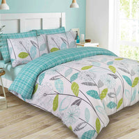 Floral Tartan Duvet Set - Green/Teal