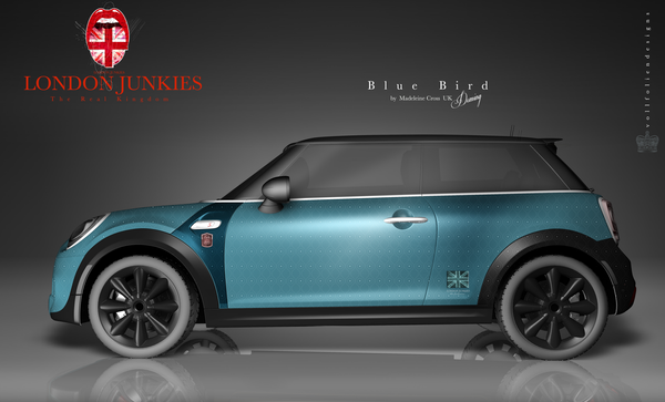 "Mini Car Wrapping Design ""Blue Bird"""