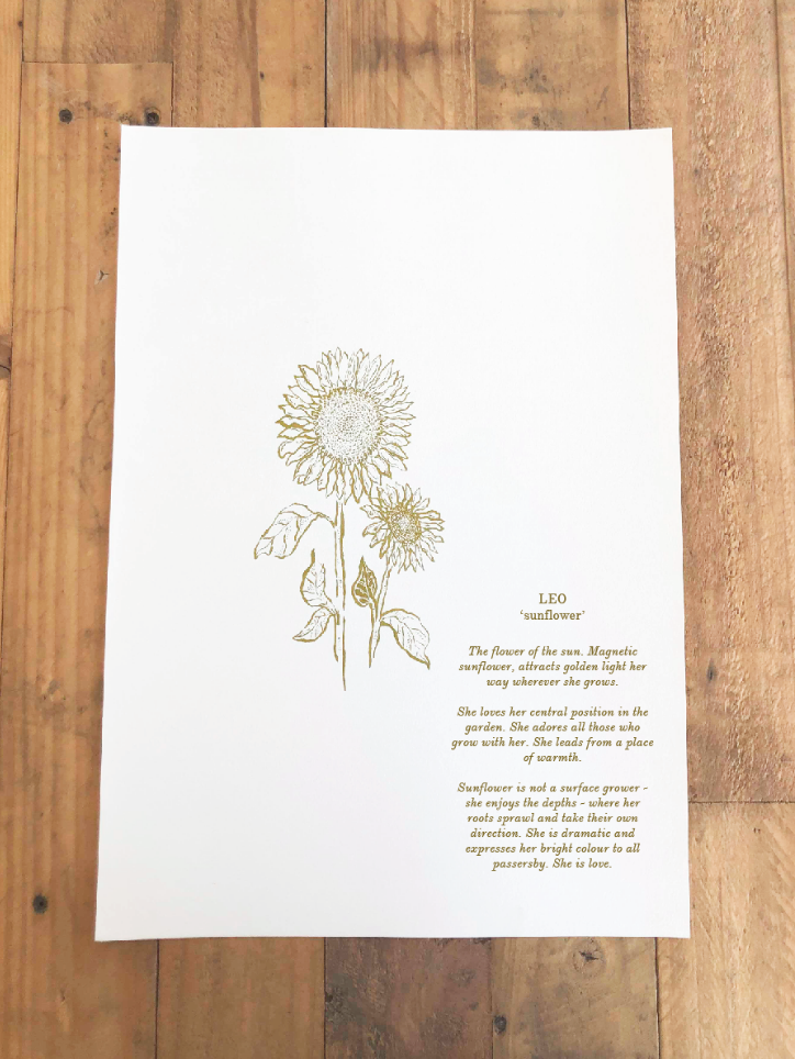 'Leo ~ Sunflower' (Digital .pdf) // Botanical Starsign Series