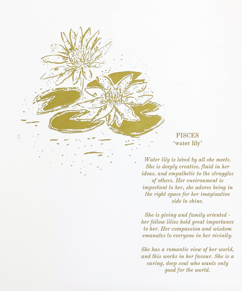 'Pisces ~ Water Lily'' (Digital .pdf) // Botanical Starsign Series
