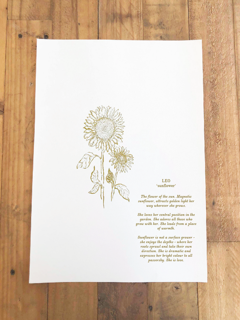 'Leo ~ Sunflower' // Botanical Starsign Series