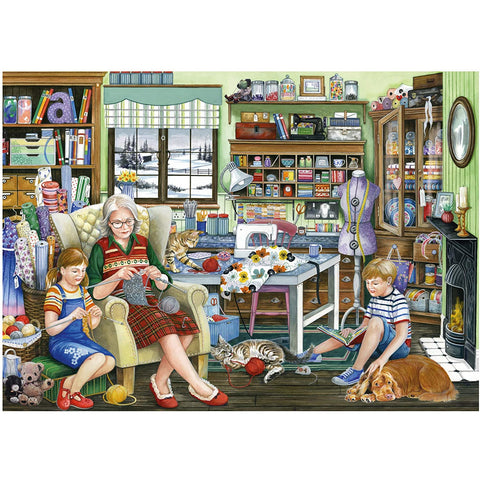 1000 Piece Jigsaw Puzzle | Granny's Sewing Room | Falcon de luxe