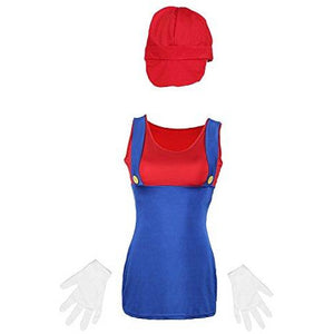 Red Mario Ladies Fancy Dress Costume UK 6-14