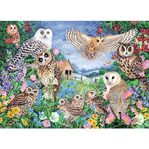 Image of 1000 Piece Adult Jigsaw Puzzle | Owls in the Wood  | Falcon de luxe