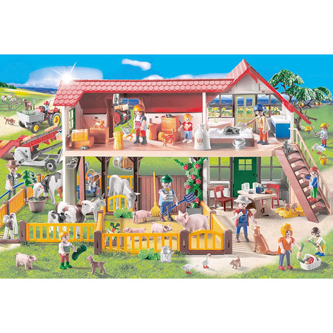 Playmobil | Farm 100 Piece Jigsaw |  Play Figure Included