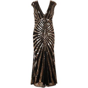 1920s Dresses for Women - Black and Gold Sequin Evening Dress UK 8-14