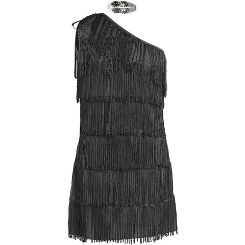 1920s Black Flapper Fancy Dress Costume UK Sizes 8-16